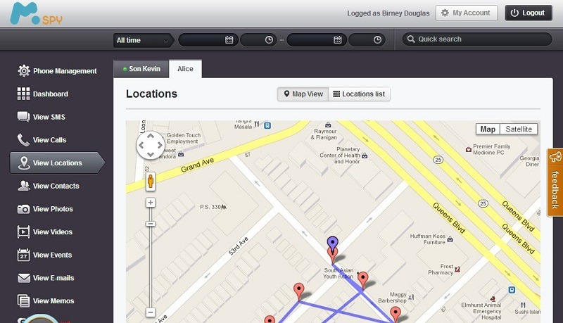 mSpy for tracking phone number location