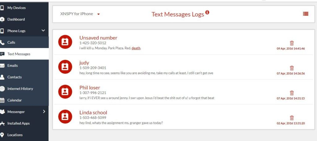 monitor text messages logs