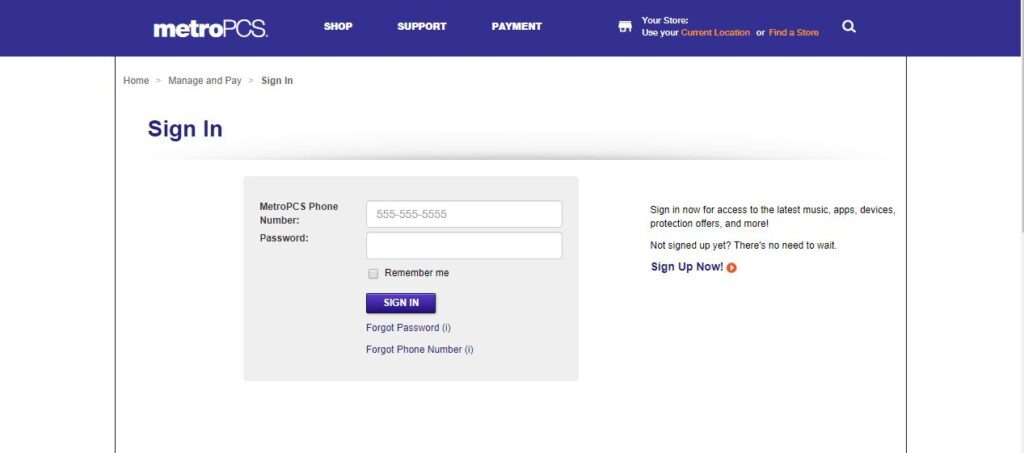 Check Metro PCS Call Logs Online - Step 1