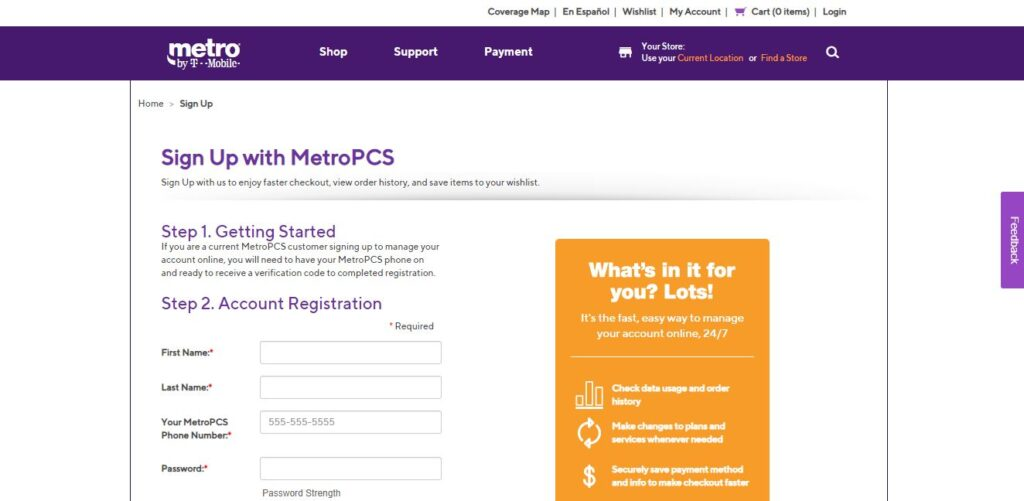 Registering Metro PCS Account-Step 2