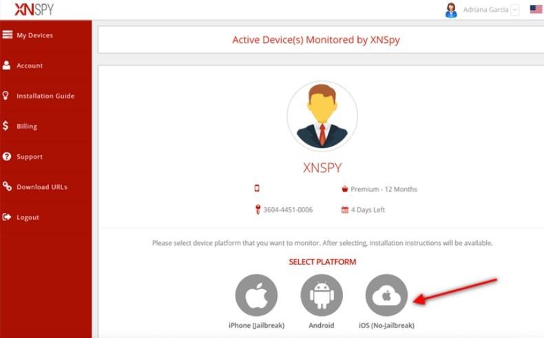 XNSPY for iPhone - Step 2