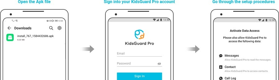 KidsGuard Monitor Android Phone -setup