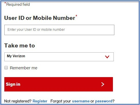 Log in to 'My Verizon' account