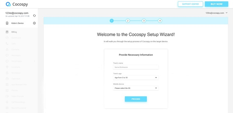 Get your Cocospy account